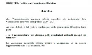 Costituzione Commissione Biblioteca - rappresentanti associazioni